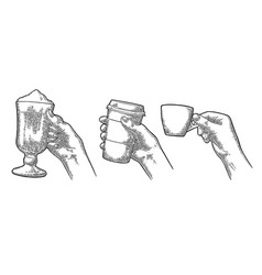 Hands holding a cup of coffee holder and glass of vector