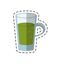 Cartoon glass cup juicy refreshment vector