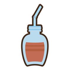 cartoon jar glass chocolate beverage vector image
