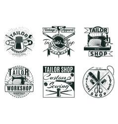 vintage tailor workshop labels set vector image