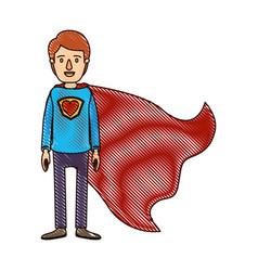 Color crayon stripe cartoon full body super guy vector