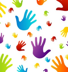 Background with colorful hands vector