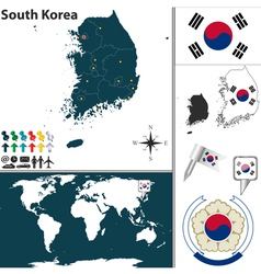 South korea map world vector