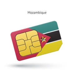 Mozambique mobile phone sim card with flag vector
