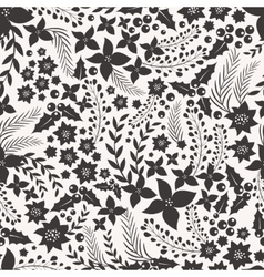 Monocrome seamless pattern with flowers vector