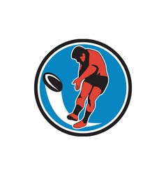 Rugby player kicking ball circle retro vector