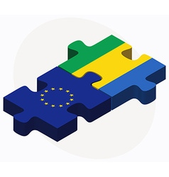 European union and gabon flags in puzzle isolated vector