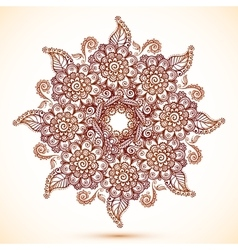 Vintage isolated mandala in indian mehndi style vector