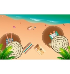 Realistic summer beach of sea side vector