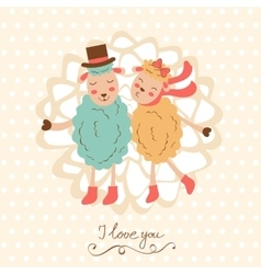 Concept love card with cute sheeps couple vector