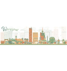 Abstract Warsaw skyline with color buildings vector image