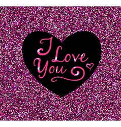 Abstract pink glittering background with heart vector