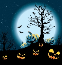 Halloween pumpkin patch vector image