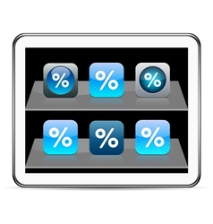 Percent blue app icons vector