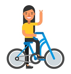 Happpy woman with bicycle coloured flat isolated vector