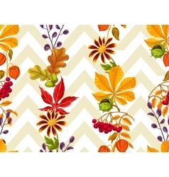 Seamless pattern with autumn leaves and plants vector