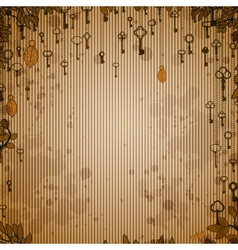 Abstract vintage background with antique keys vector image vector image