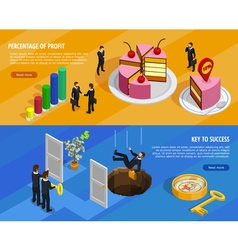 Business Development Isometric Horizontal Banners vector image vector image
