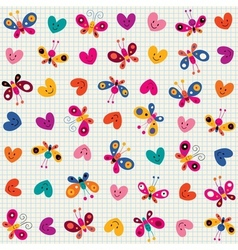 Butterflies hearts pattern vector