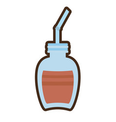 Cartoon jar glass chocolate beverage vector
