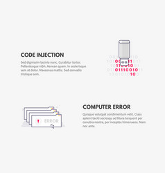 code injection and computer error cyber security vector image