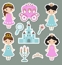 Collection of cute princess stickers collection vector