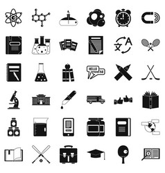 College student icons set simple style vector