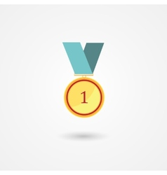 First place gold award medal icon vector