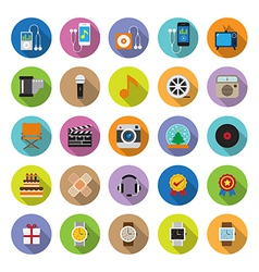 flat icons collection with long shadow vector image