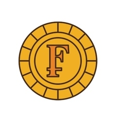 Franco coin isolated icon vector