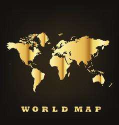 Golden world map vector