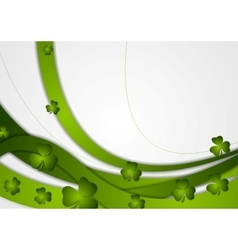 Green waves and clovers shamrocks vector
