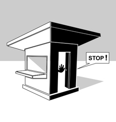 Guardhouse and security guard vector