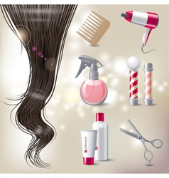 hair care icons vector image vector image