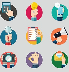 Hands with business object icons set flat design vector