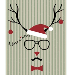 Hipster santa deer vector