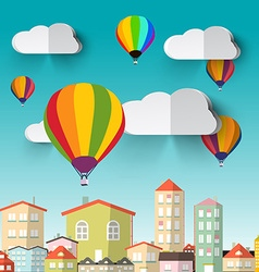 Hot air balloons on blue sky and city vector