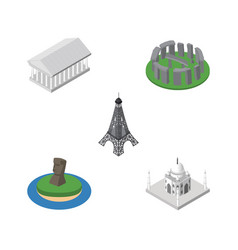 Isometric architecture set of paris chile athens vector