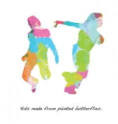 kids butterfly paint vector image vector image
