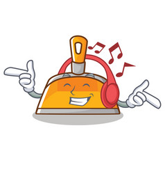 Listening music dustpan character cartoon style vector