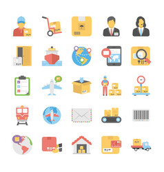 Logistic delivery flat icons set vector