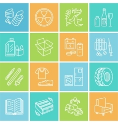 Modern thin line icons of waste sorting vector image vector image