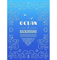 Ocean background marine frame nautical vector
