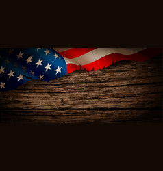 old american flag on wooden background vector image
