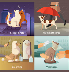 Pet shop concept icons set vector