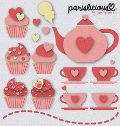 Pinky tea set vector