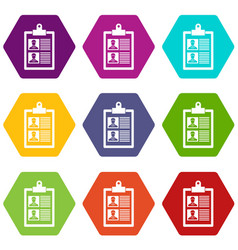 resume of two candidates icon set color hexahedron vector image