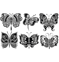 Set of butterflies silhouettes isolated on white b vector image vector image