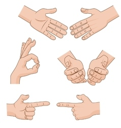 Set of cartoon hands icons for business vector