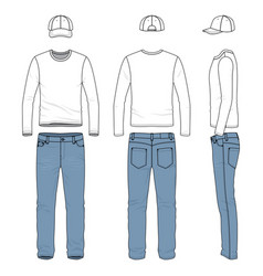 Set of male tee jeans baseball cap vector
